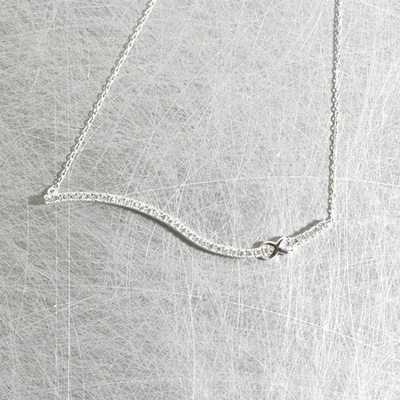 White Gold CZ Infinity Wave Bar Necklace Sterling Silver from kellinsilver.com