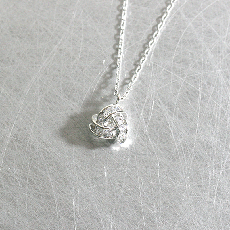 White Gold Swarovski Triangle Knot Infinity Necklace Sterling Silver from kellinsilver.com