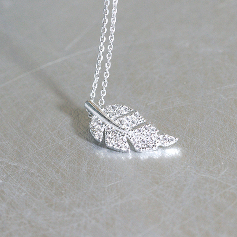 CZ White Gold Olive Leaf Charm Necklace Sterling Silver from kellinsilver.com