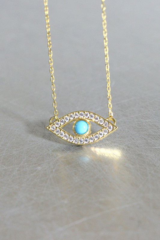 Turquoise Gold Evil Eye Necklace Sterling Silver from kellinsilver.com