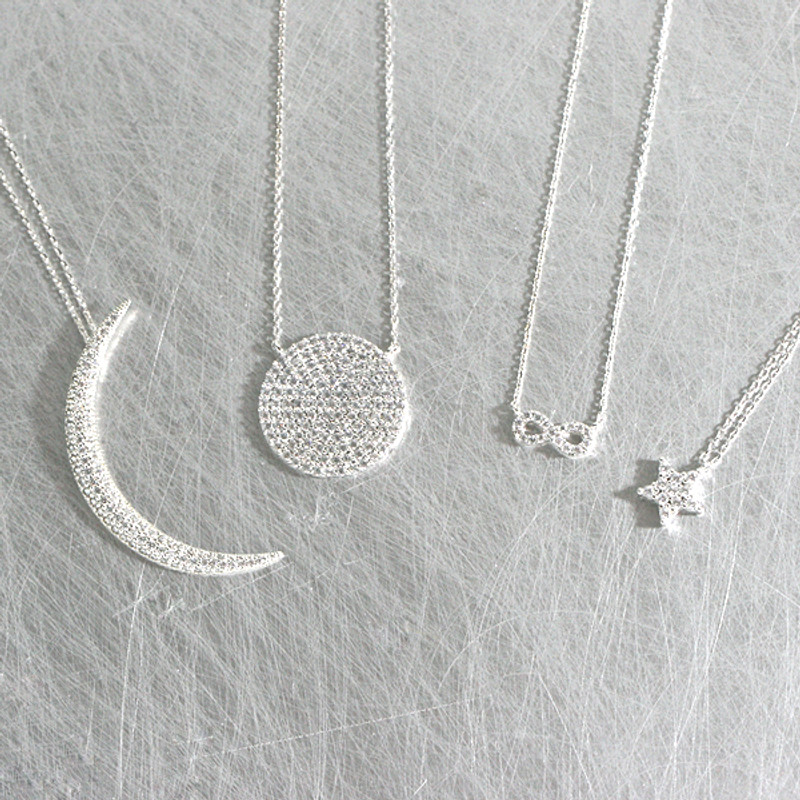 Swarovski White Gold Pave Disc Necklace Sterling Silver at kellinsilver.com