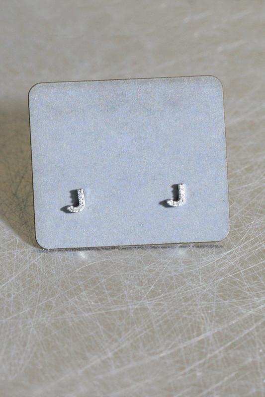 CZ Very Small Alphabet Stud Earrings Sterling Silver from kellinsilver.com