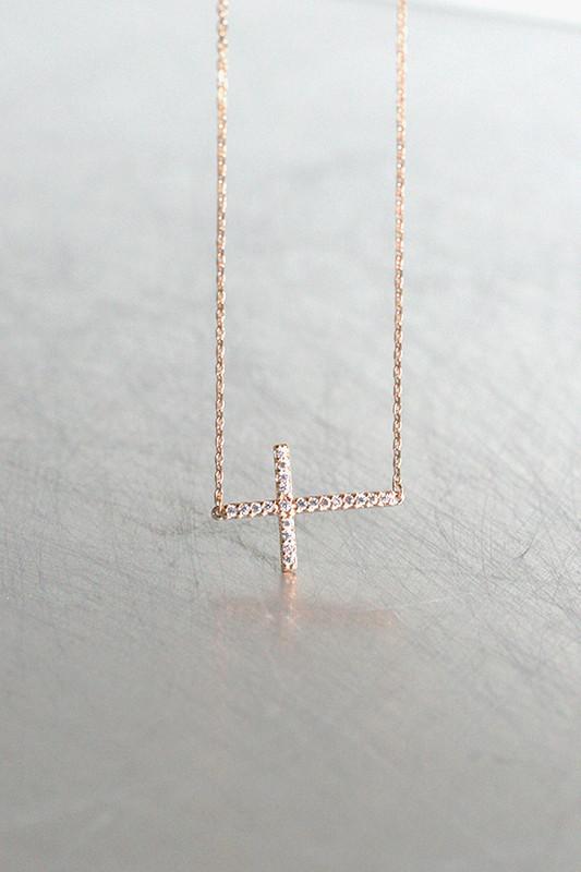 Rose Gold Swarovski Sideways Cross Necklace Sterling Silver from kellinsilver.com