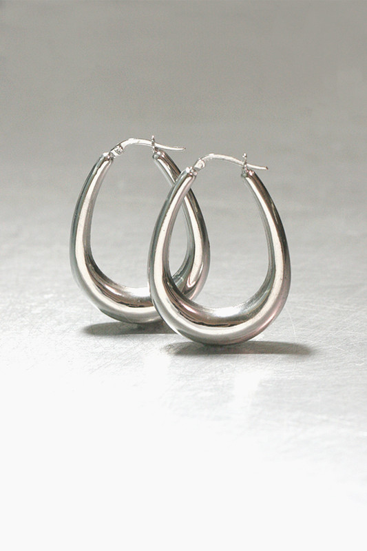 Sterling Silver Side Teardrop Snap Hoop Earrings Medium from kellinsilver.com
