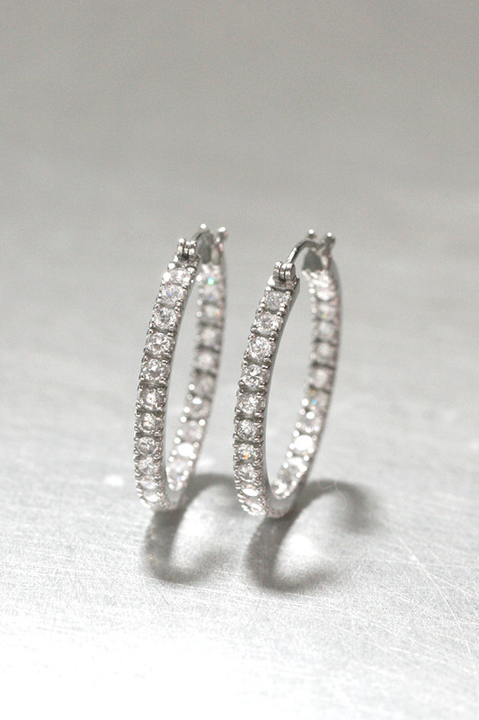 CZ 30mm Metro Hoop Earrings Sterling Silver from kellinsilver.com