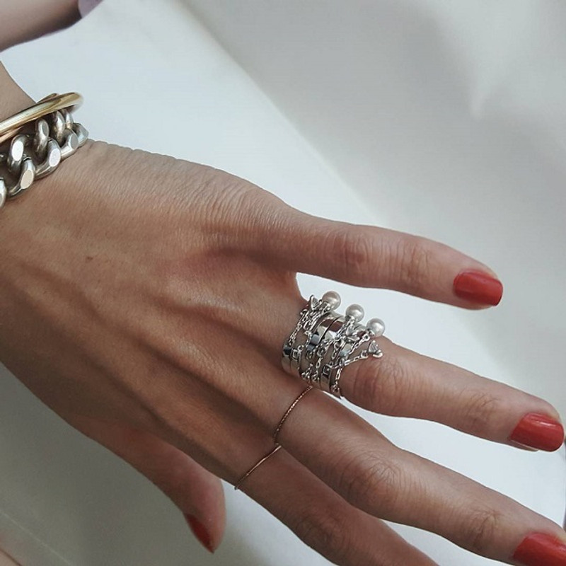 Stackable CZ Cham Chain Ring Sterling Silver from kellinsilver.com