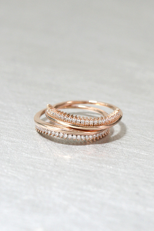 CZ Rose Gold Wave Tiara Ring Set of 2 Sterling Silver from kellinsilver.com