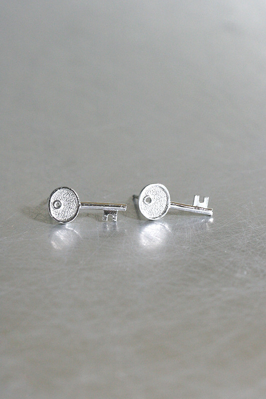 Silver Key Stud Earrings from kellinsilver.com