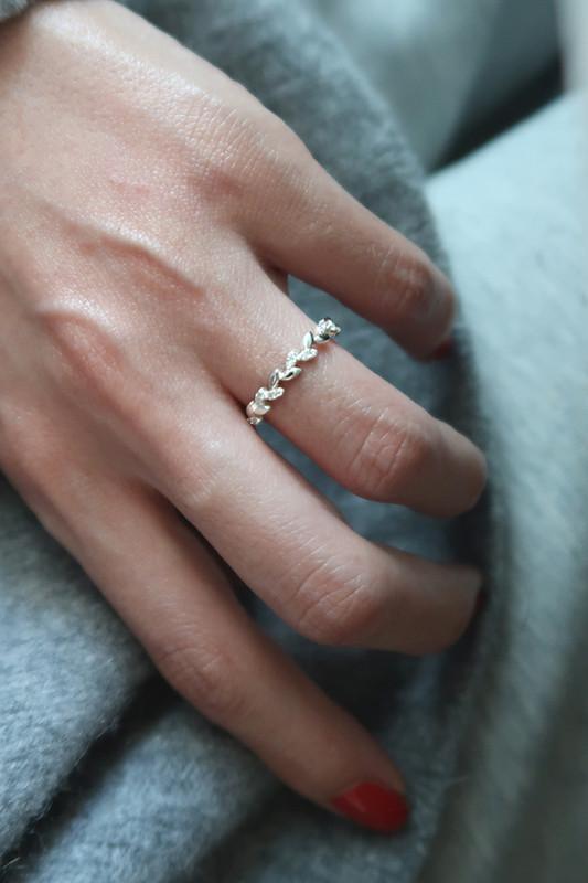 Dainty CZ Olive Leaf Ring Sterling Silver from kellinsilver.com