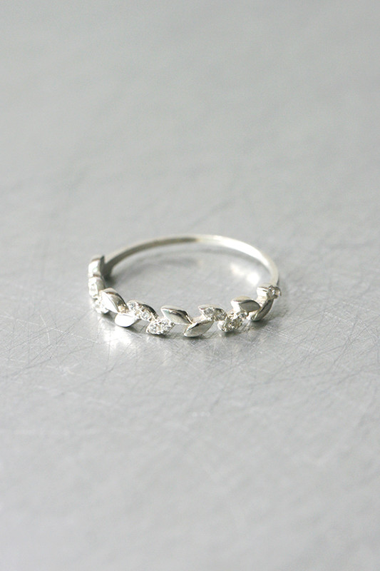 Dainty CZ Olive Leaf Ring Sterling Silver from kellinsilver.com