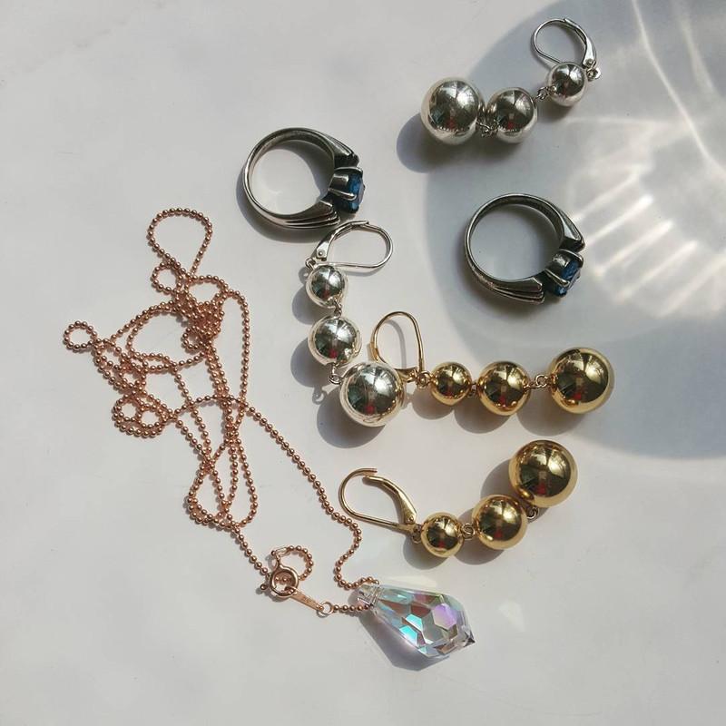 Sterling Silver Three Ball Dangle Earrings from kellinsilver.com