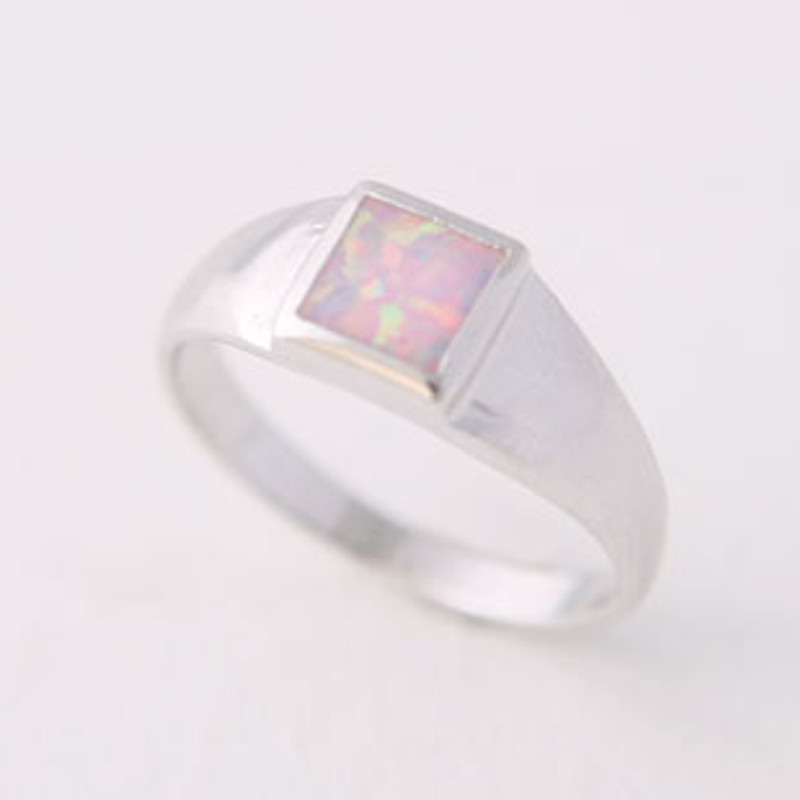 Square Opal Ring Sterling Silver