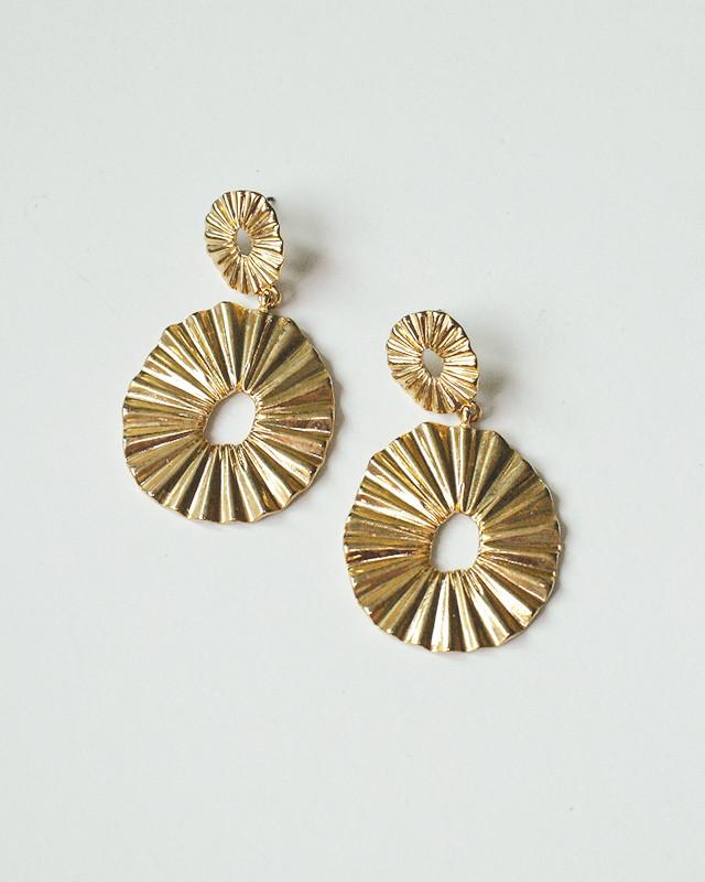 Gold Pleated Oval Dangle Earrings from  kellinsilver.com
