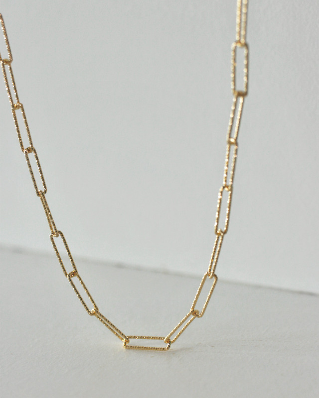 Gold Millgrain Square Chain Necklace Sterling Silver from kellinsilver.com