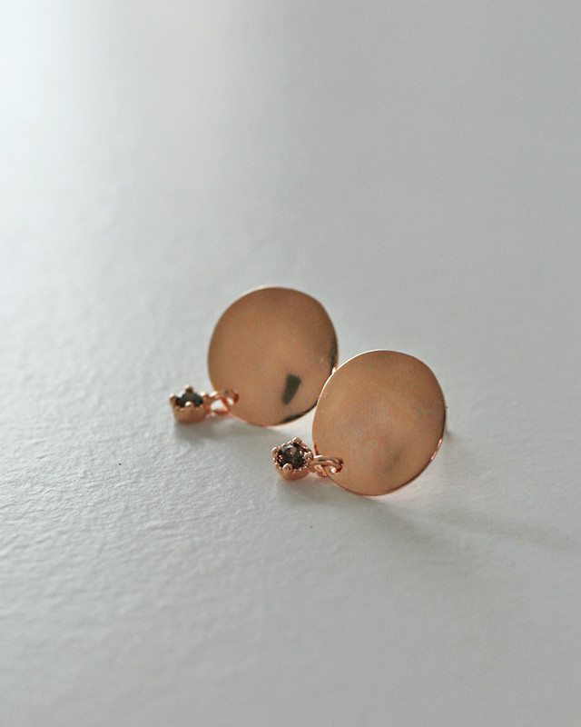 Rose Gold Cognac CZ Disc Studs Sterling Silver from kellinsilver.com