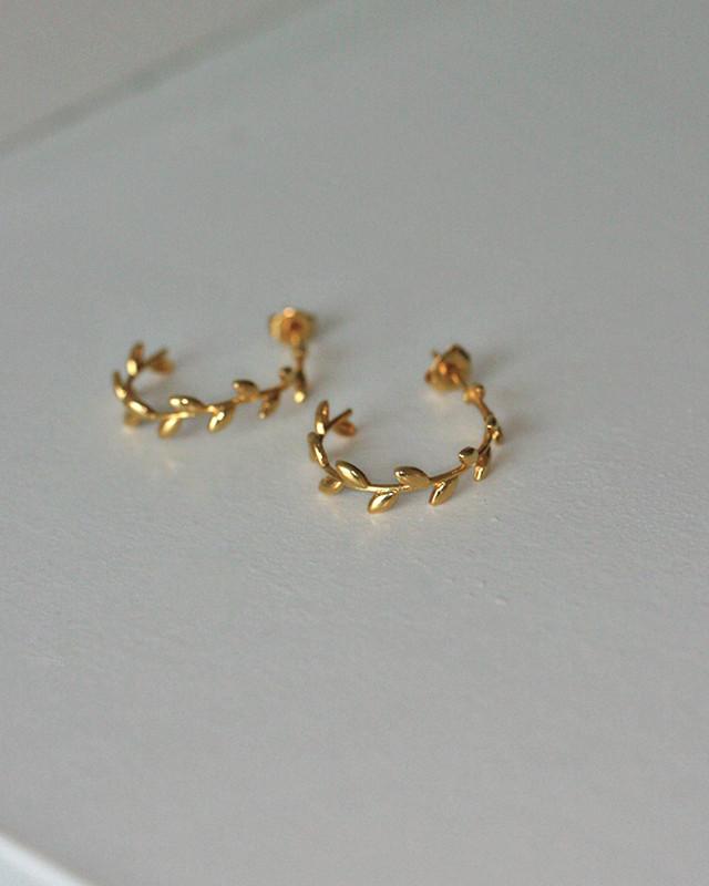 Gold Olive Leaf Hoop Earrings Sterling Silver on kellinsilver.com