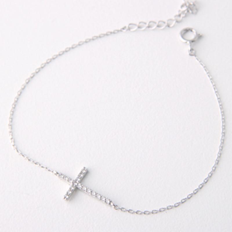 Sterling Silver Swarovski Sideways Cross Bracelet White Gold from kellinsilver.com