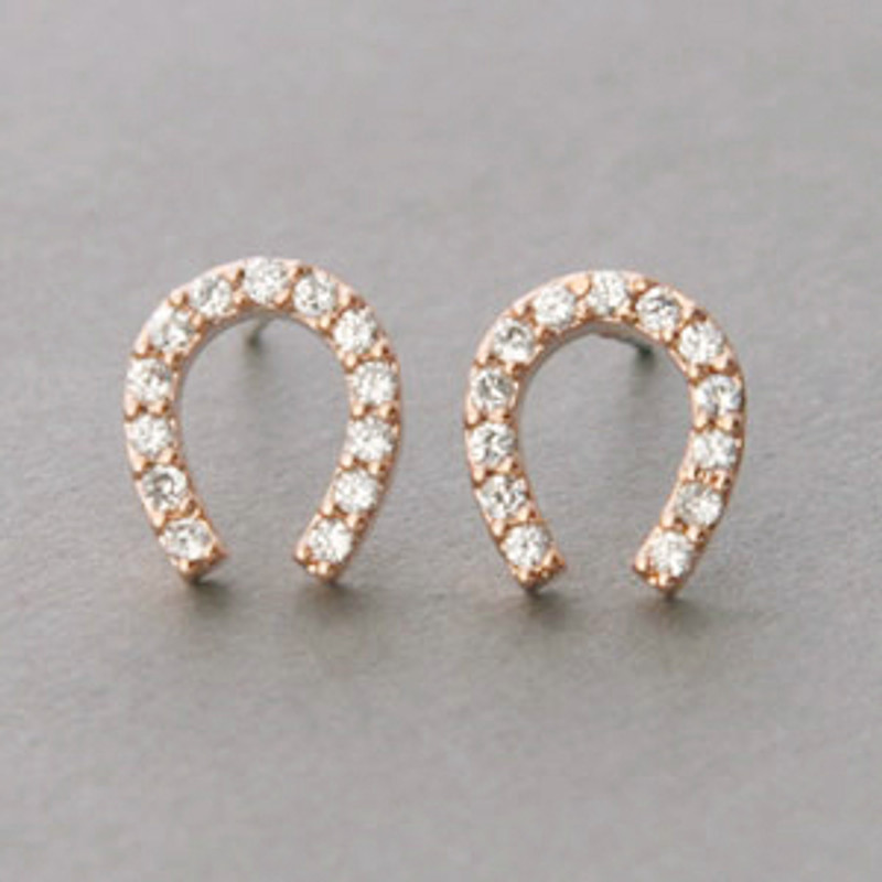 Swarovski Horseshoe Stud Earrings Rose Gold