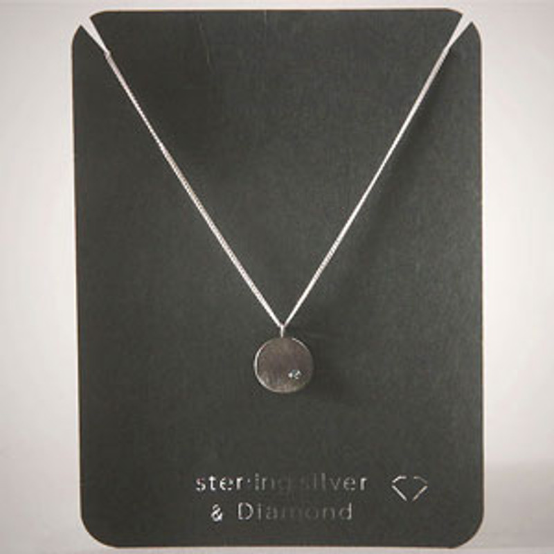 Black Disc Blue Diamond Necklace Sterling Silver
