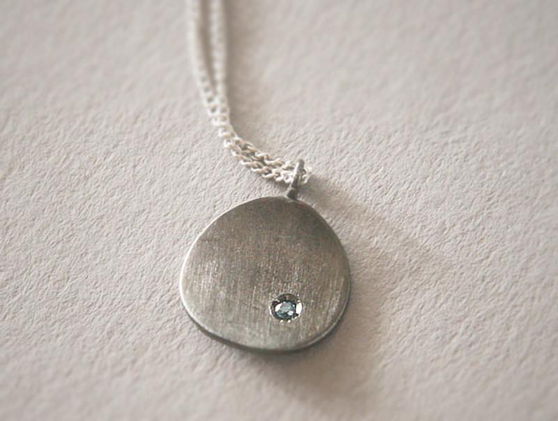 Black Disc Blue Diamond Necklace Sterling Silver
