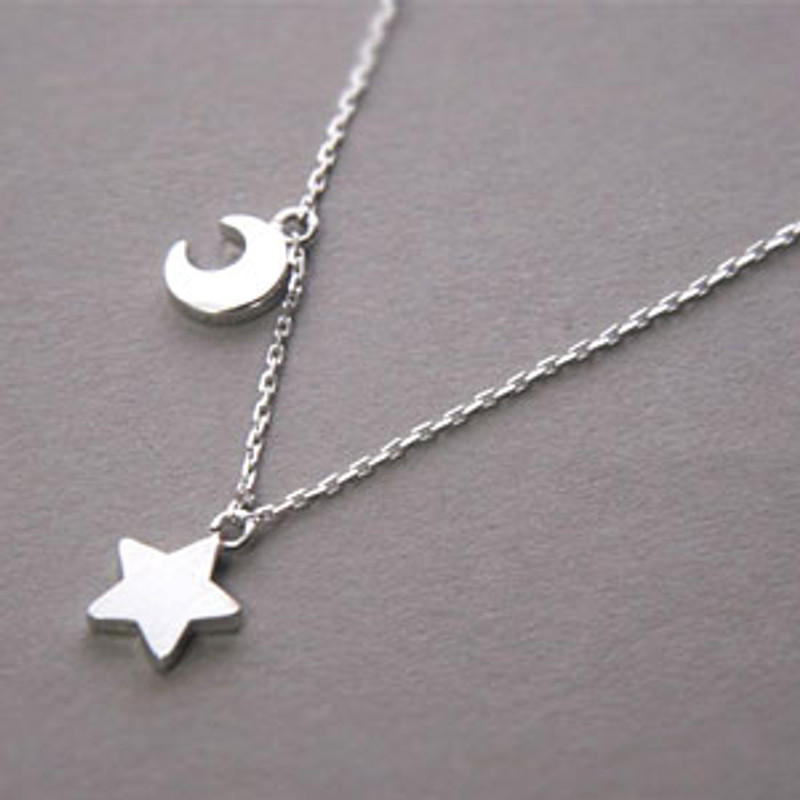 White Gold Crescent Moon and Star Necklace Sterling Silver