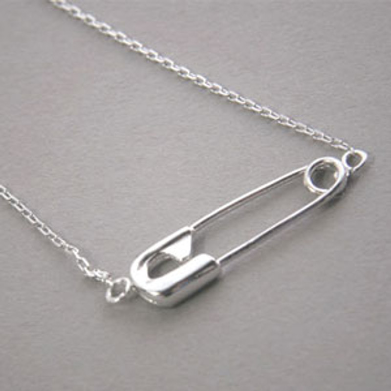 White Gold Safety Pin Necklace Sterling Silver  from kellinsilver.com