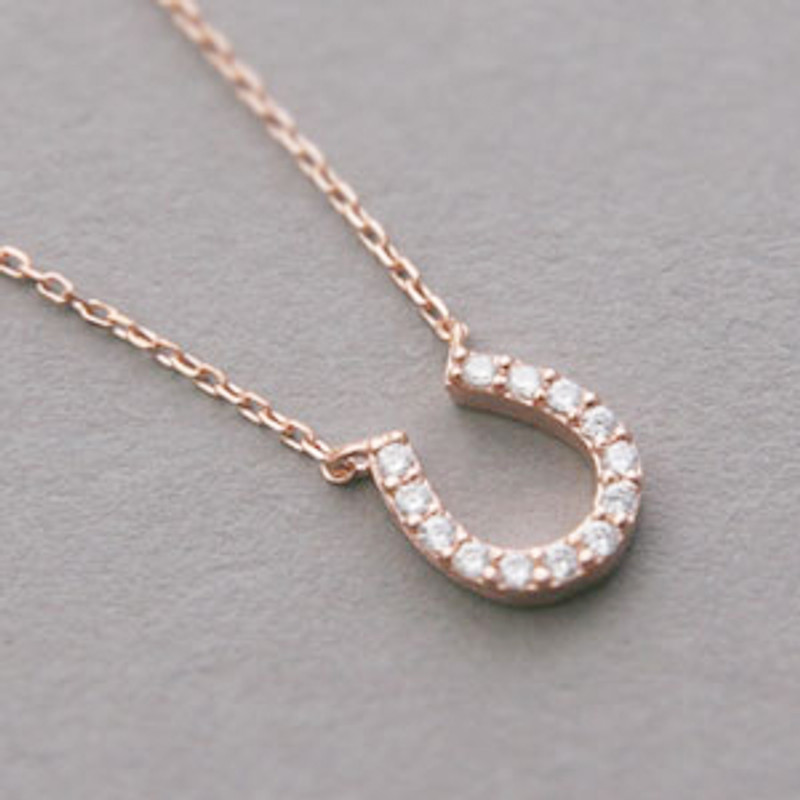 Rose Gold Swarovski Horseshoe Necklace Sterling Silver ON KELLINSILVER.COM