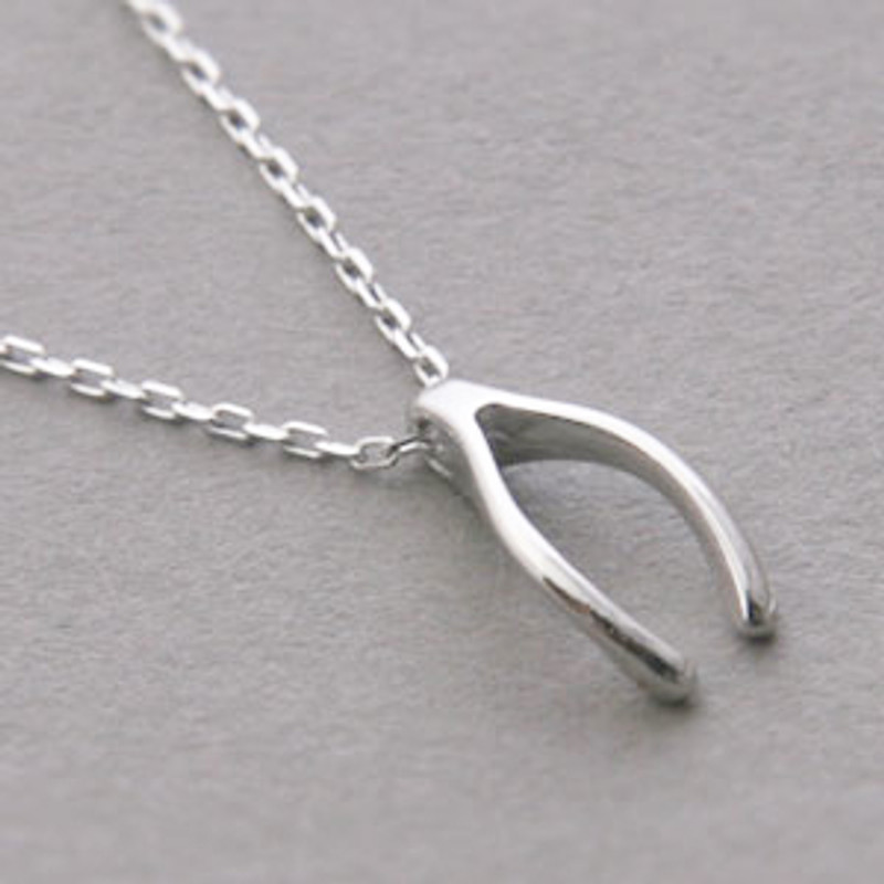 White Gold Wishbone Necklace Sterling Silver FROM KELLINSILVER.COM