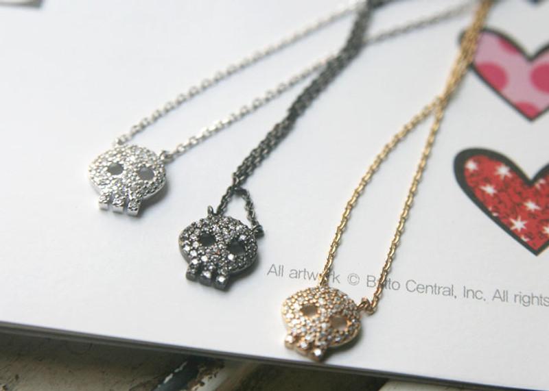 White Gold Swarovski Skull Necklace Sterling Silver from kellinsilver.com