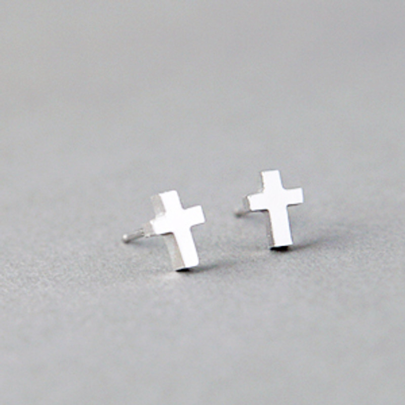 Tiny Cross Earrings Studs Sterling Silver