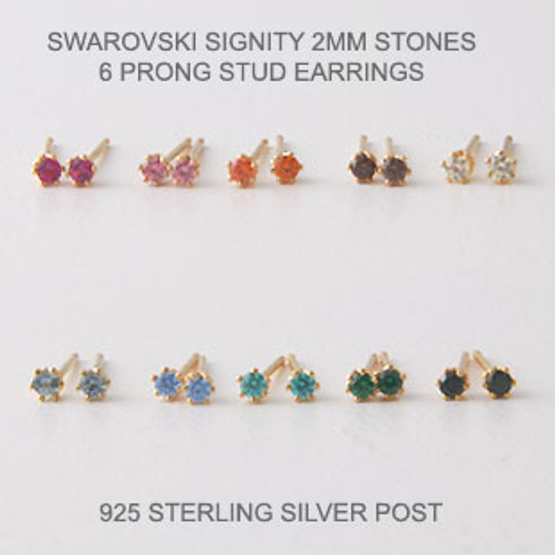 2mm Swarovski Studs Gold Six Claw Earrings ( 10 colors)