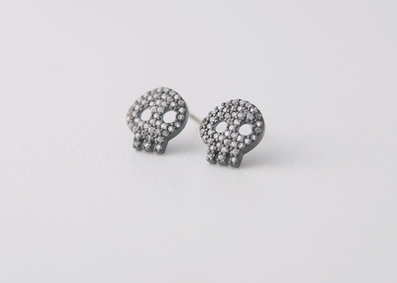Swarovski Black Skull Earrings Studs