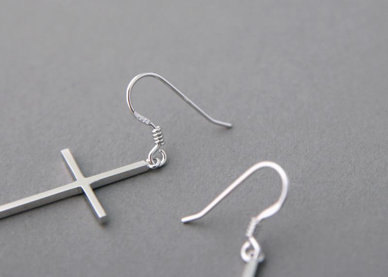 Sterling Silver Cross Dangle Earrings from kellinsilver.com