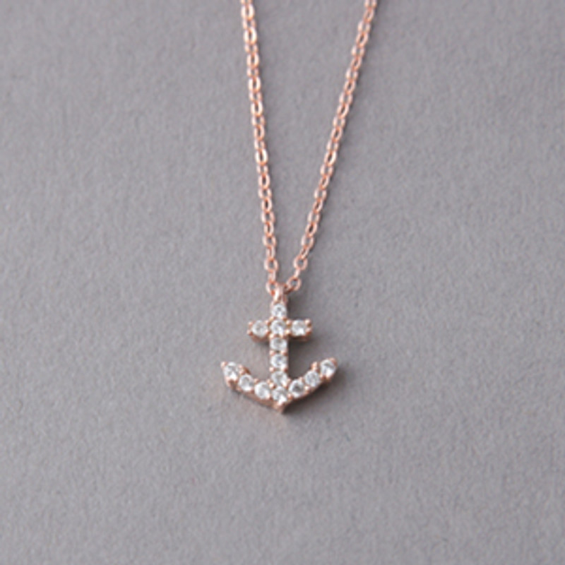 Rose Gold Swarovski Anchor Necklace Sterling Silver from kellinsilver.com