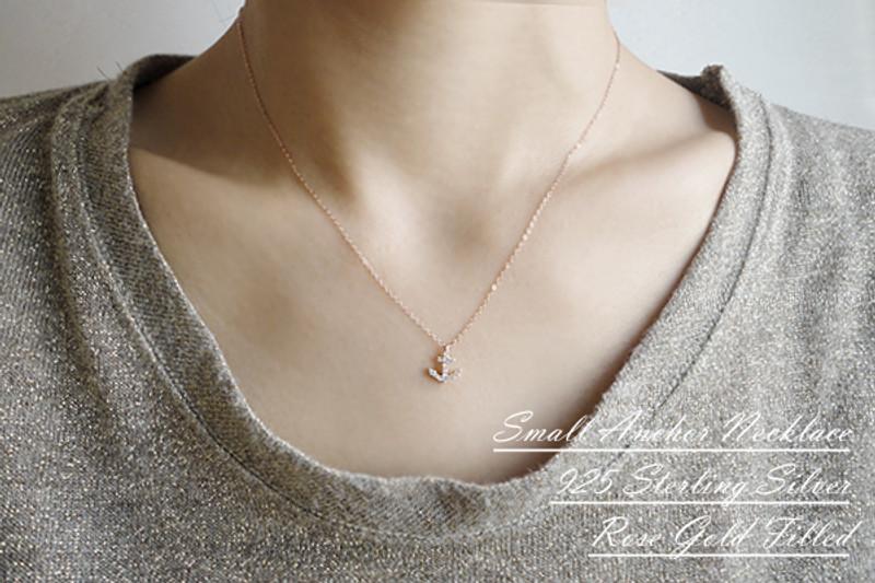 Rose Gold Swarovski Anchor Necklace Sterling Silver from kellinsilver.com
