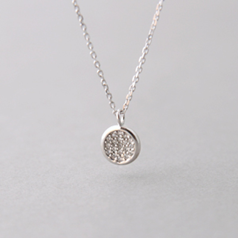 60cm CZ Pave Disc Charm Necklace Sterling Silver