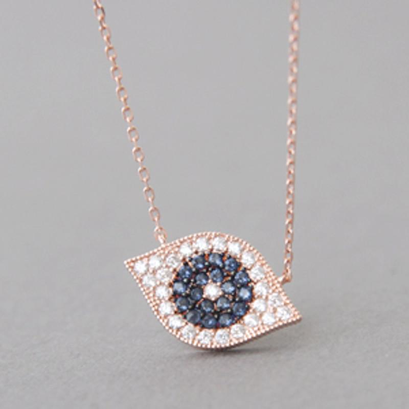 Rose Gold Pave Swarovski Sapphire Evil Eye Necklace Sterling Silver from kellinsilver.com