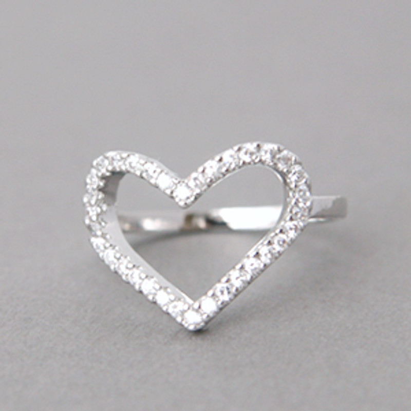 Swarovski Heart Ring White Gold from kellinsilver.com