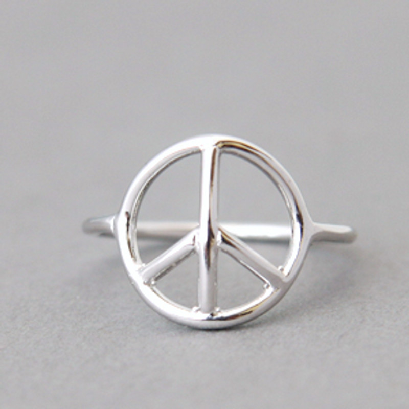 White Gold Peace Ring