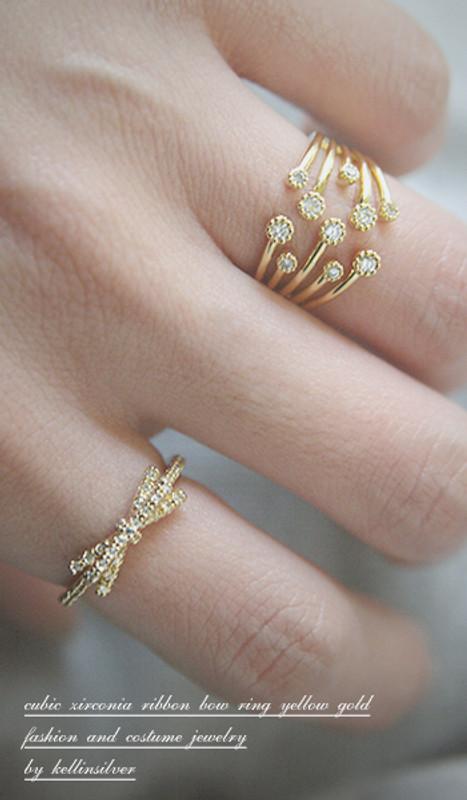 CZ Ribbon Bow Ring Gold