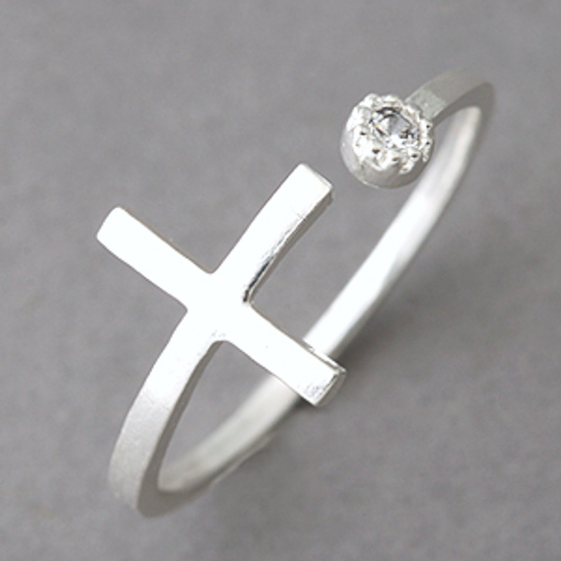 CZ Sideways Cross Wrap Ring Sterling Silver from kellinsilver.com