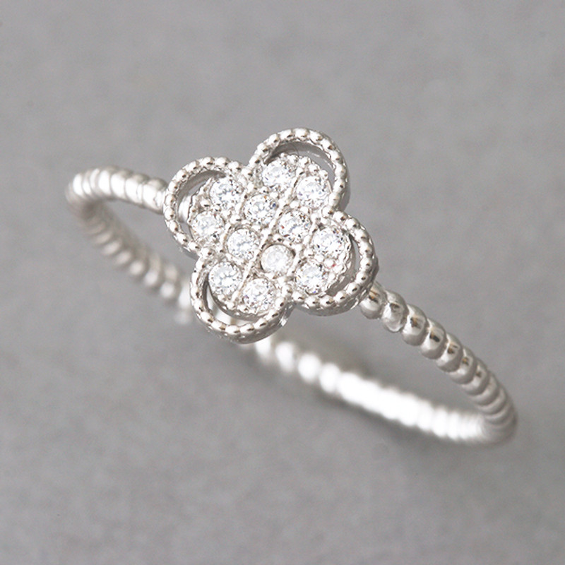 CZ Four Leaf Clover Ring Sterling Silver
