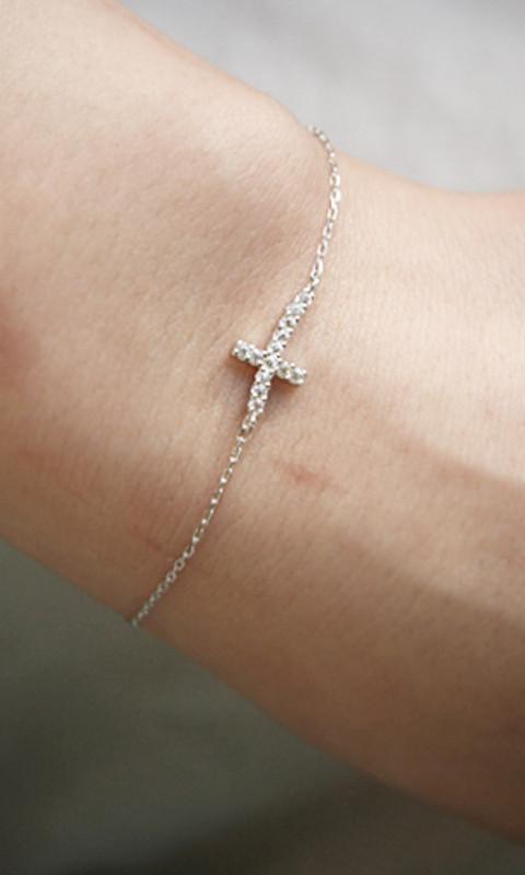 Swarovski Curved Sideways Cross Bracelet White Gold