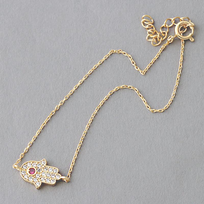 Ruby Swarovski Gold Hamsa Evil Eye Bracelet Sterling Silver FROM KELLINSILVER.COM
