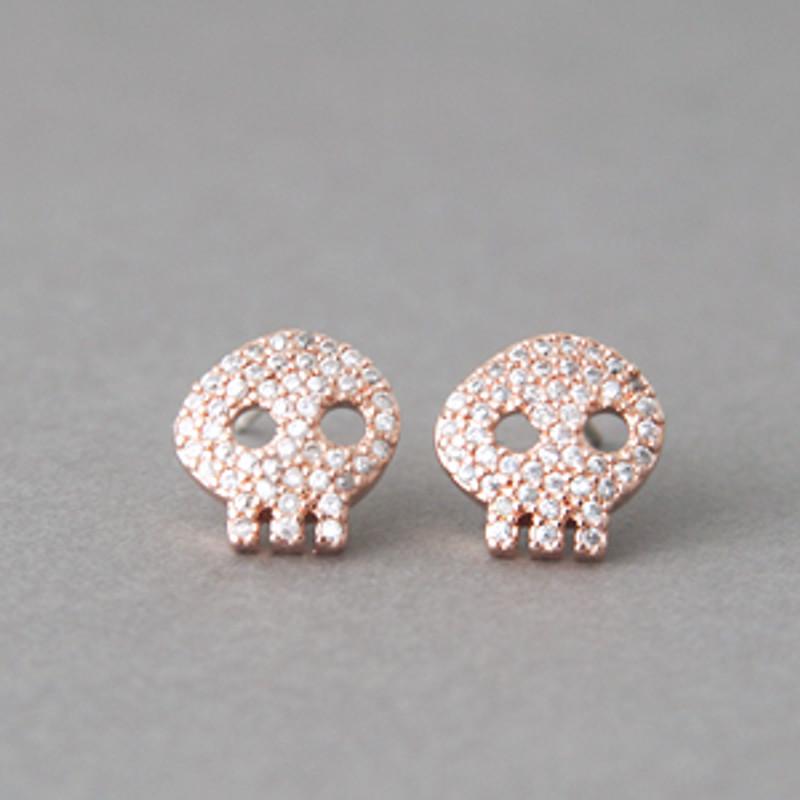 Swarovski Rose Gold Skull Earrings Studs