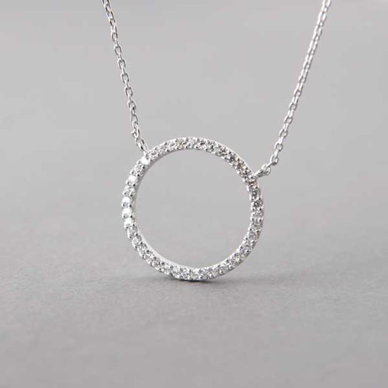 Swarovski White Gold Outline Circle Necklace Sterling Silver FROM KELLINSILVER.COM