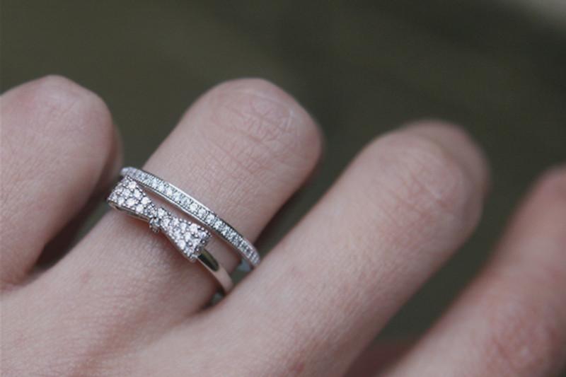 Pave Milgrain Edge White Gold Eternity Ring Sterling Silver on kellinsilver.com