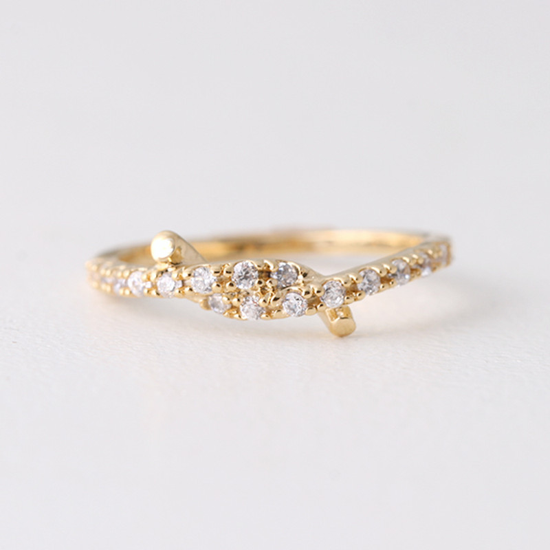 CZ Gold Knot Midi Ring from kellinsilver.com