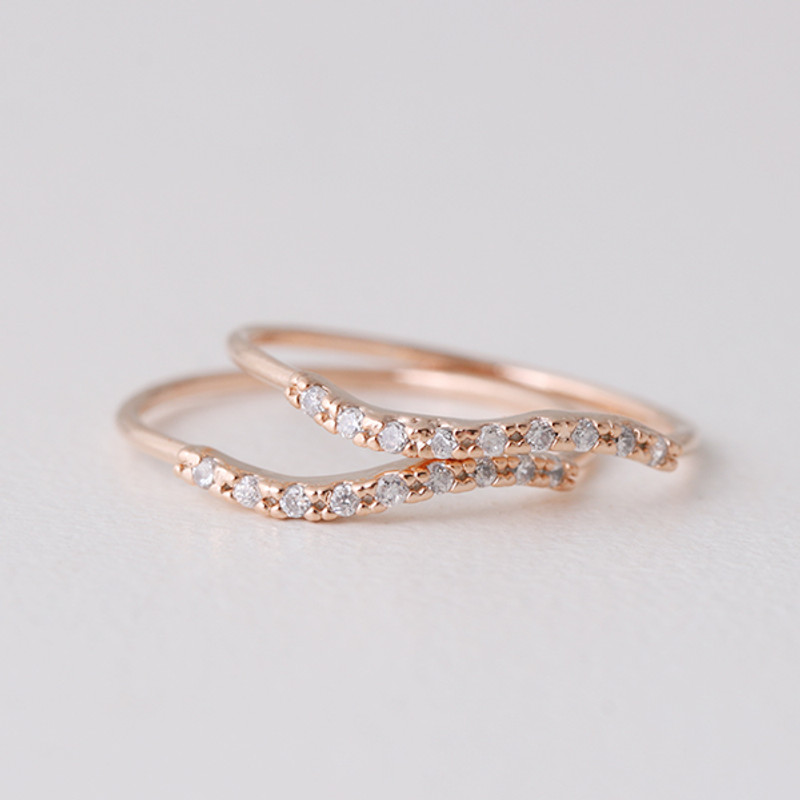 CZ Wave Rose Gold Thin Rings Set of 2 from kellinsilver.com