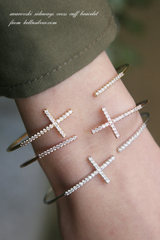 Swarovski Sideways Cross Cuff  Rose Gold Bracelet from kellinsilver.com